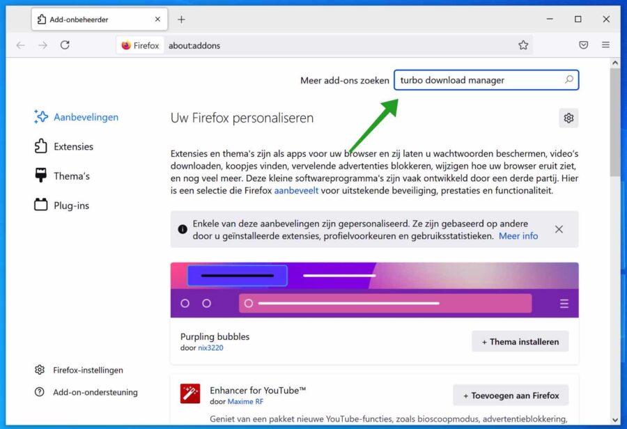 Addon installeren in Firefox
