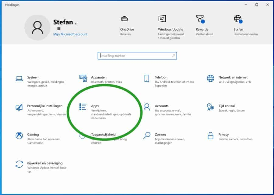 Apps instellingen in Windows 10
