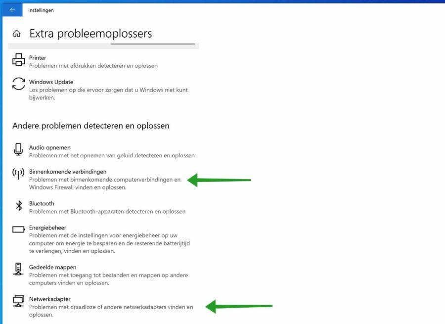 Extra probleemoplossers uitvoeren in Windows