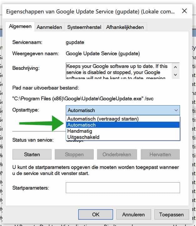 Google update service aanpassen naar automatisch opstarten