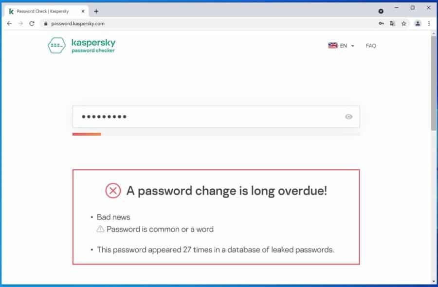 Kaspersky Password check
