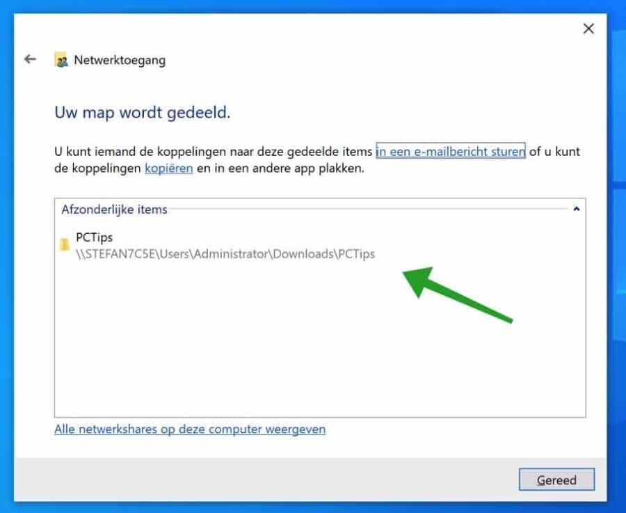 Locatie van gedeelde map in Windows