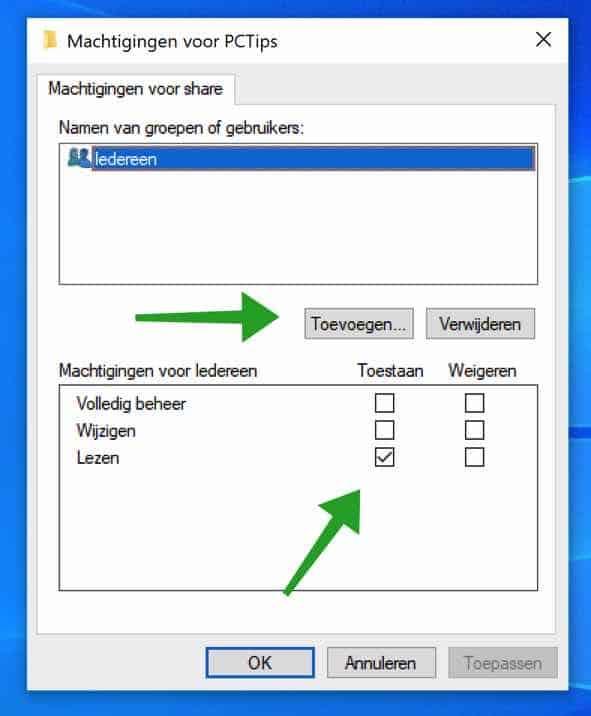 Machtigingen toevoegen aan een gedeelde map in Windows