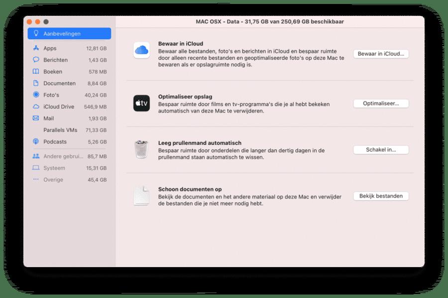 Overige opslag beheren Mac