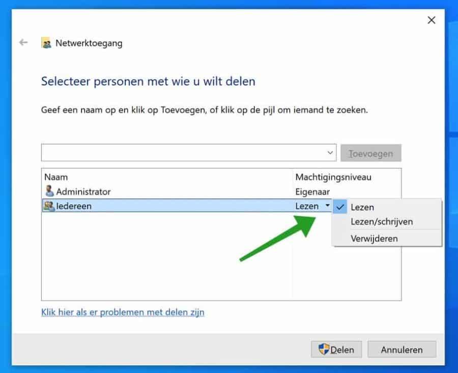 Permissies toewijzen aan gedeelde map in Windows