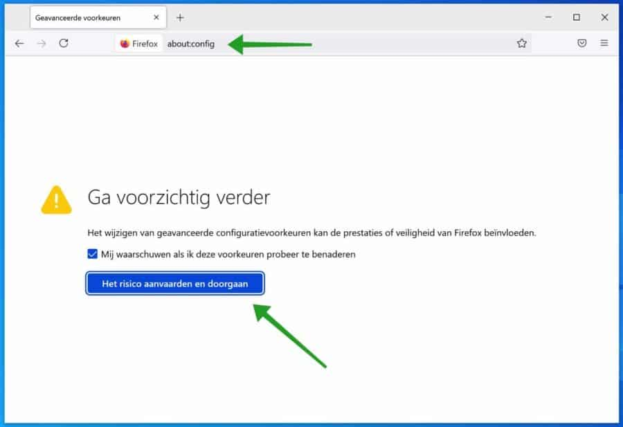 about config instellingen firefox