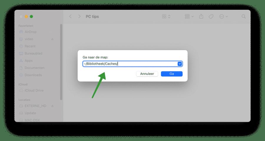 cache bestanden mac openen