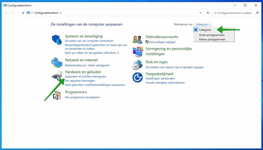 Apparaten weergeven in Windows