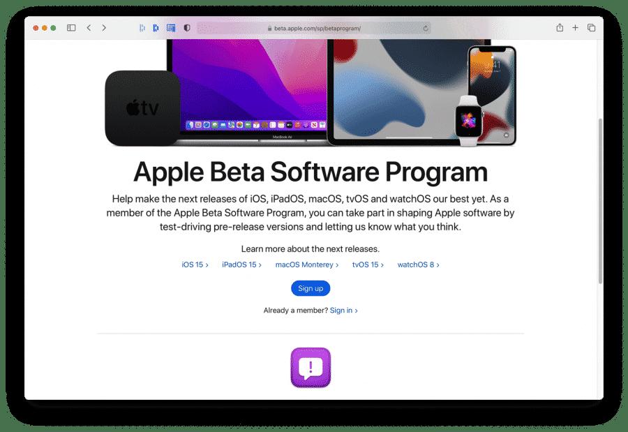 Apple beta programma aanmelden
