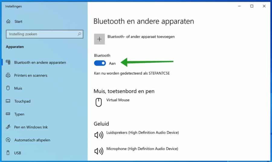 Bluetooth inschakelen Windows