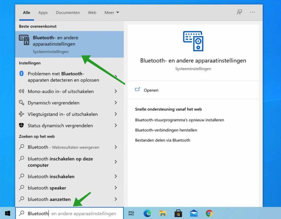 Bluetooth instellingen windows