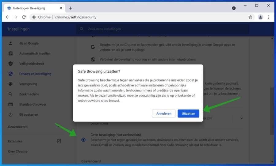 Google Chrome Safebrowsing uitschakelen