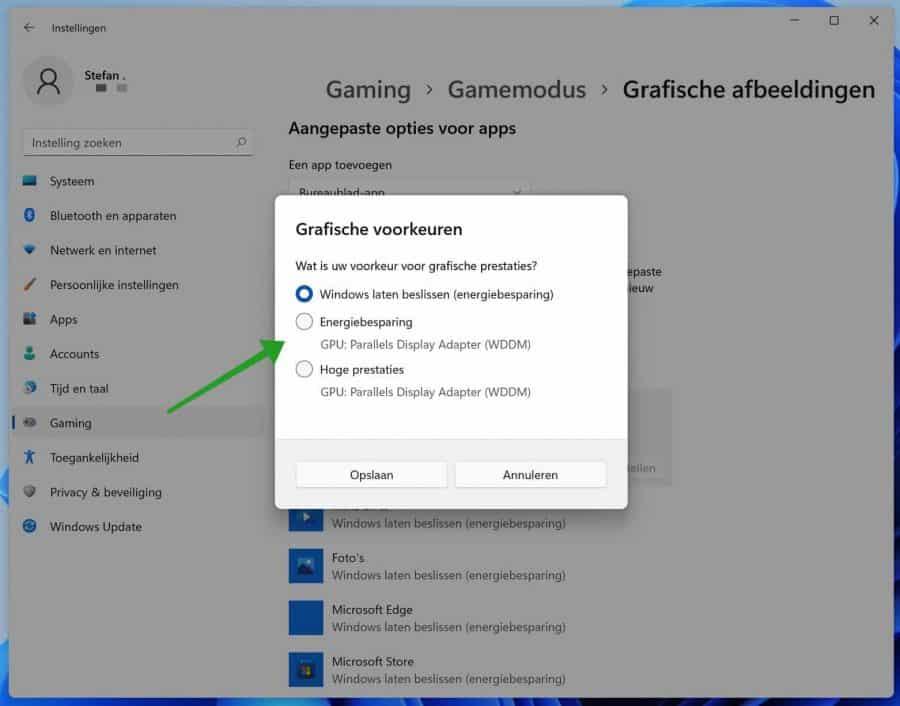 Grafische voorkeur instellen in Windows 11