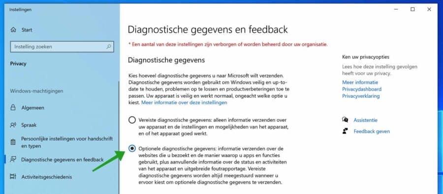 Optionele diagnostische gegevens inschakelen in Windows
