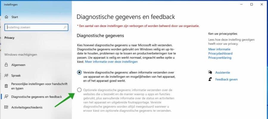 Optionele diagnostische gegevens uitgeschakelt