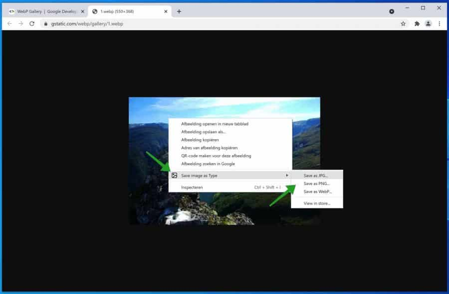 Save image as type browser extensie