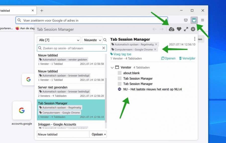 Tab session manager - tabbladen synchroniseren