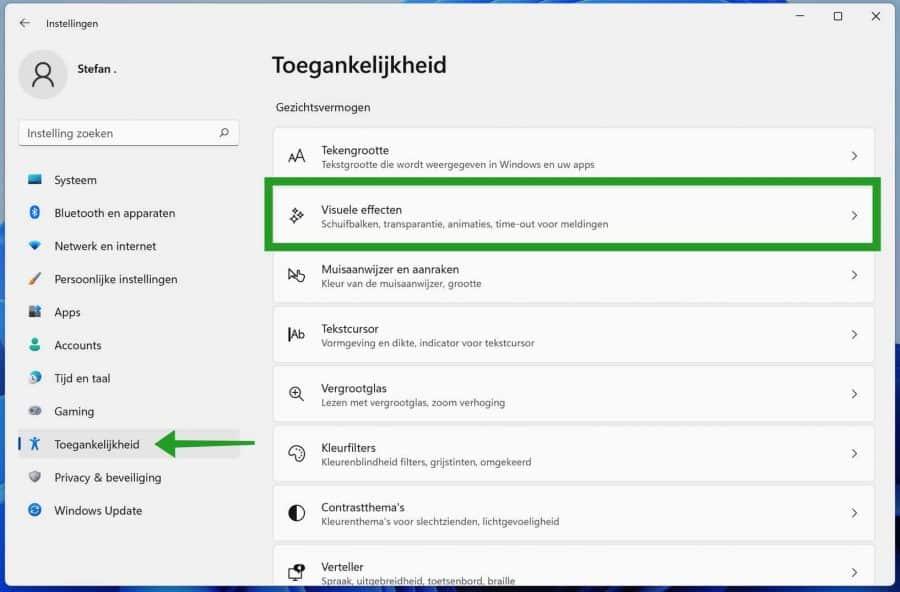 Toegankelijkheid - visuele effecten in Windows 11