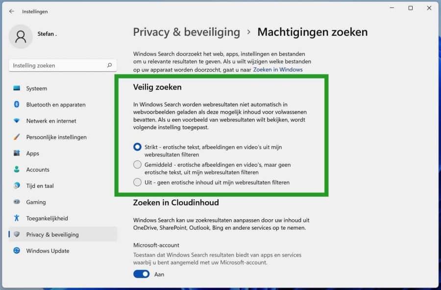 Veilig zoeken aanpassen in Windows 11