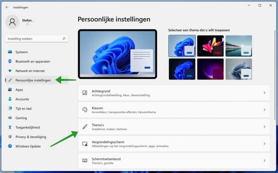 Windows 11 persoonlijke instellingen aanpassen