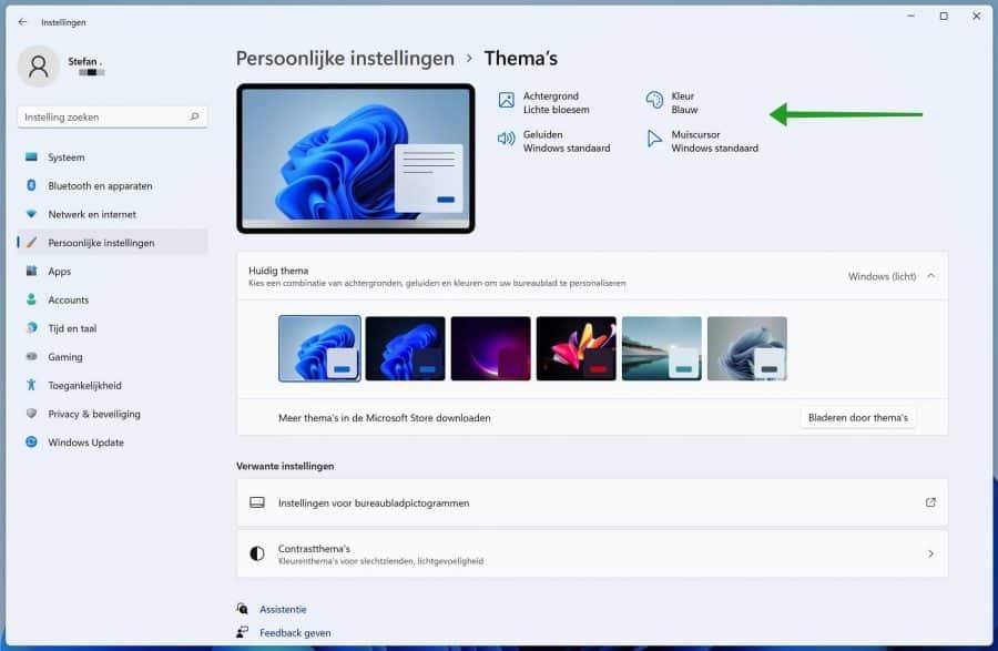 Windows 11 thema instellingen