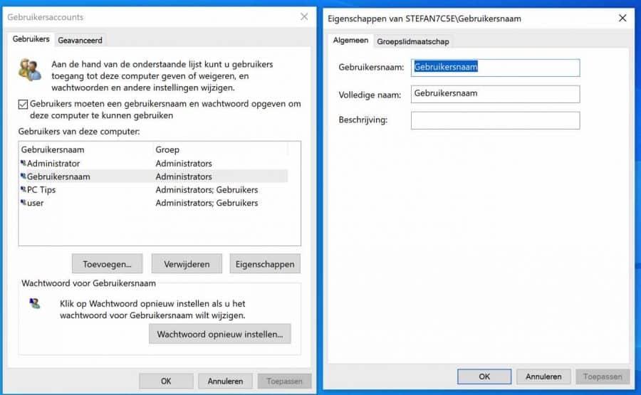 Windows gebruikersnaam wijzigen via netplwiz