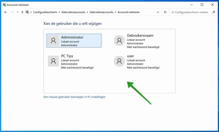 Windows lokaal account selecteren