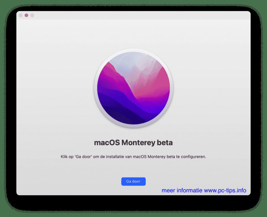 macOS Monterey beta pkg installatie bestand