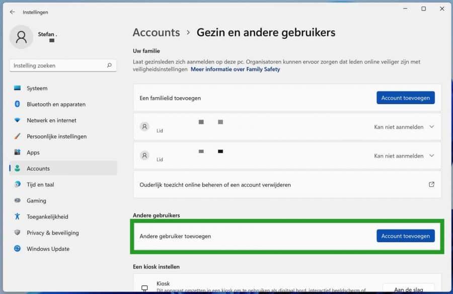 Account toevoegen aan Windows 11