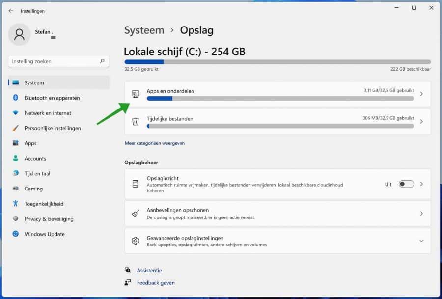 Apps en onderdelen wissen in Windows 11