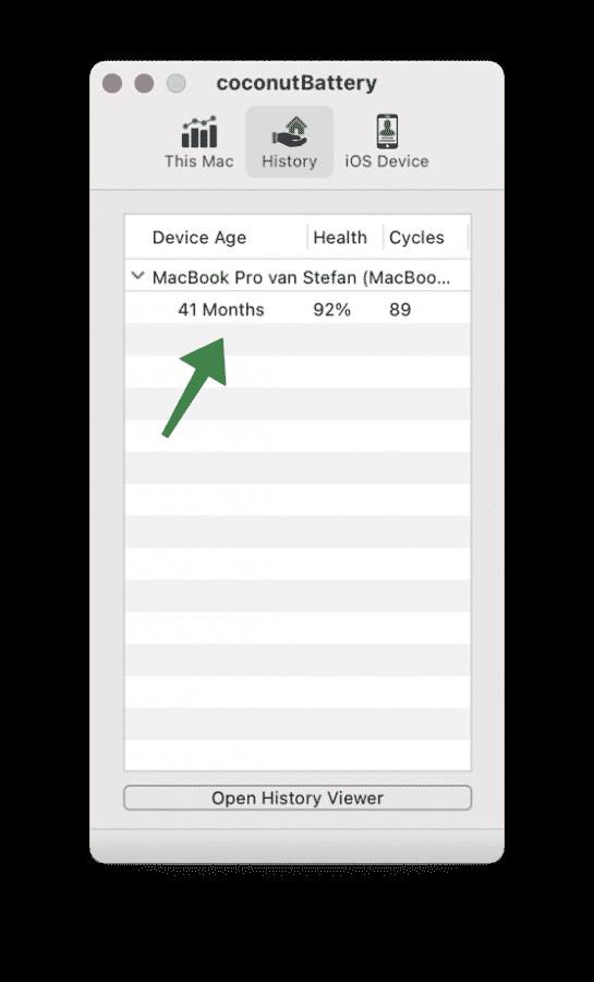 Batterij leeftijd in MacBook
