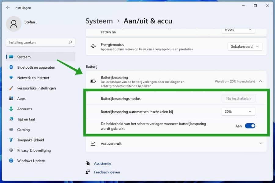 Batterijbesparing in Windows 11