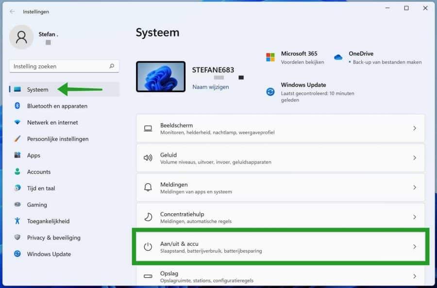 Batterijbesparing instellingen in Windows 11