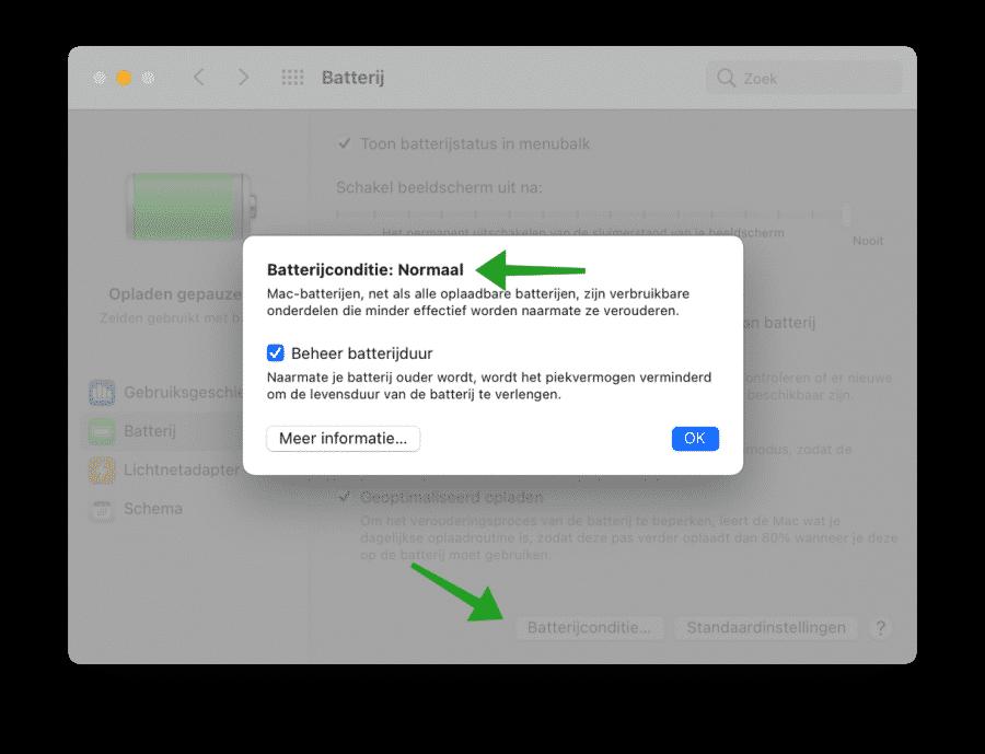 Batterijstatus controleren via macOS instellingen
