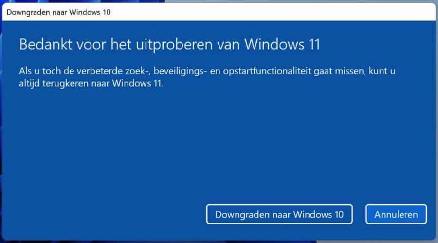 Bedankt voor het uitproberen van Windows 11