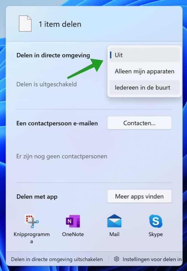 Bestand delen in directe omgeving in Windows 11