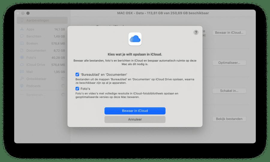 Bewaar gegevens in iCloud