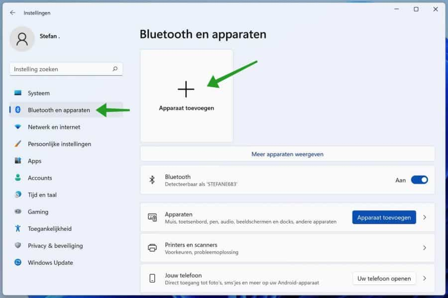 Bluetooth apparaat toevoegen in Windows 11