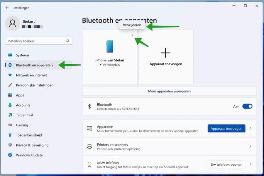 Bluetooth apparaat verwijderen in Windows 11