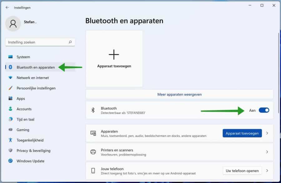 Bluetooth inschakelen in Windows 11