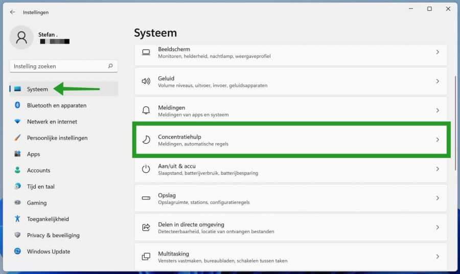Concentratiehulp inschakelen in Windows 11