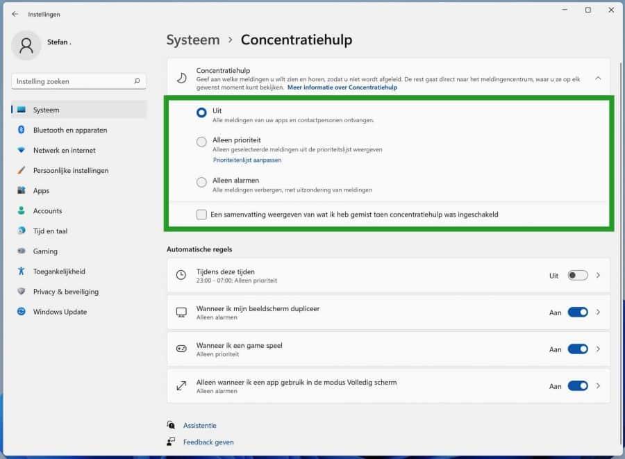 Concentratiehulp instellingen in Windows 11