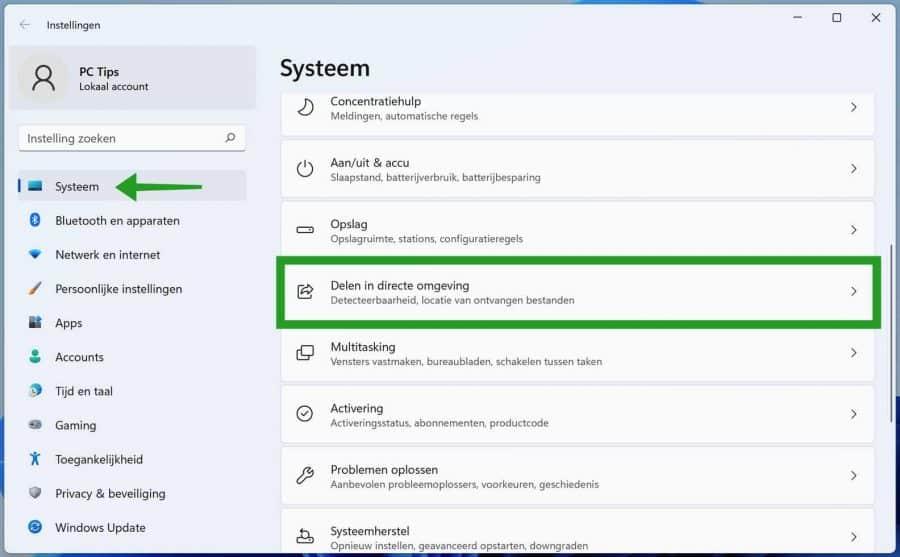 Delen in directe omgeving inschakelen via de Windows instellingen