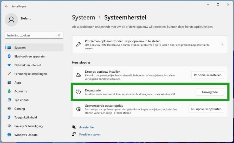 Downgrade Windows 11 naar Windows 10