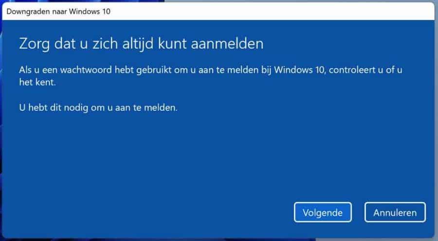 Downgrade naar Windows 10