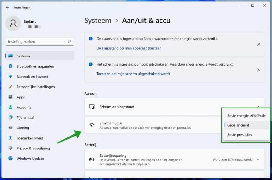 Energiemodus Windows 11