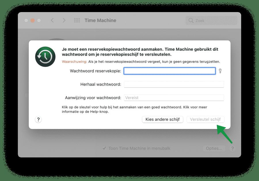 Externe Mac backup schijf versleutelen
