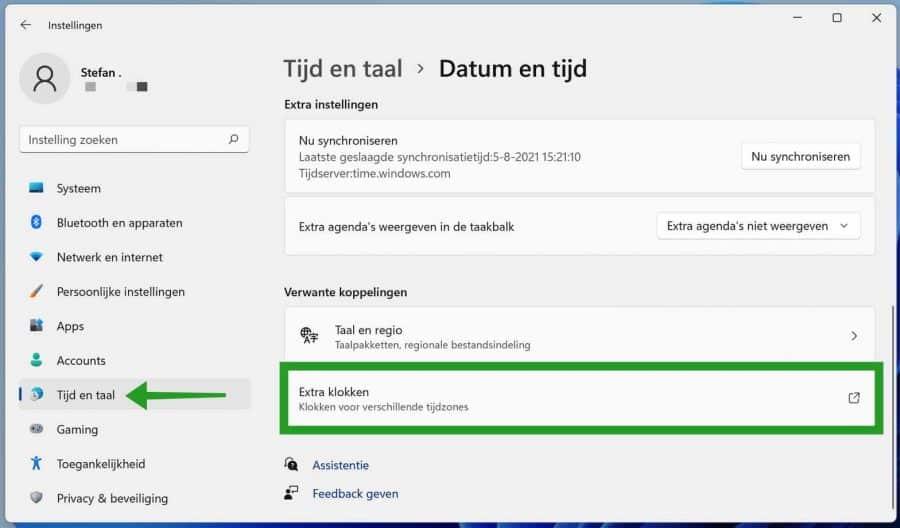 Extra klokken toevoegen in Windows 11