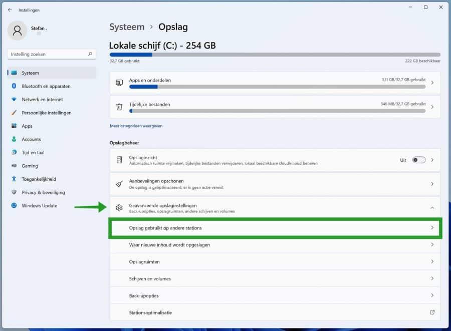 Geavanceerde opslaginstellingen in Windows 11