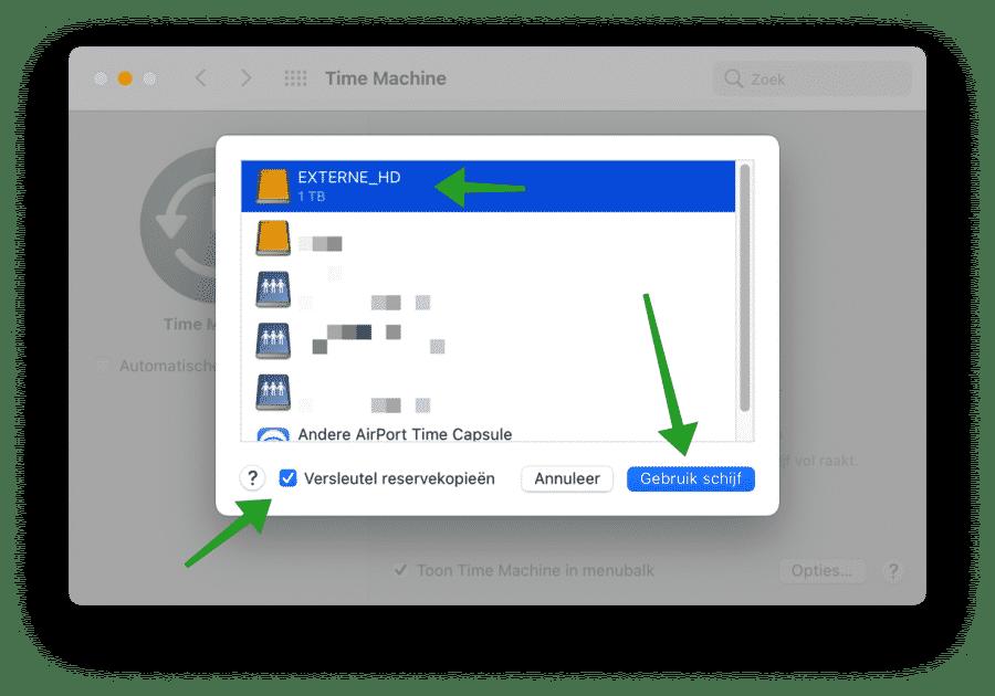 Gebruik externeschijf om Mac backups te maken